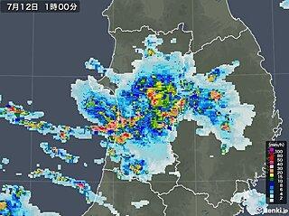 秋田県で局地的に大雨