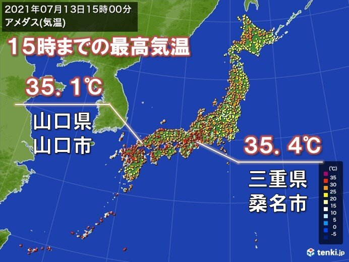 三重県や山口県などで35℃以上の猛暑日 来週は暑さレベルアップする所も