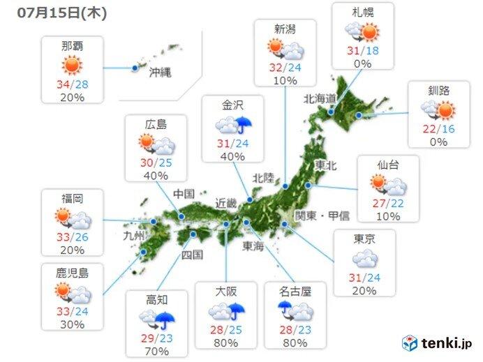 九州に熱中症警戒アラート