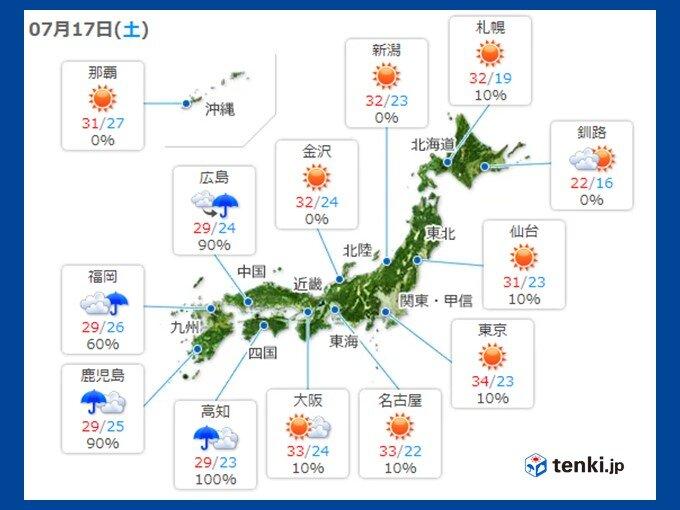 土日 関東甲信や東北で猛暑日続出か?