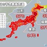 あす18日 危険な暑さパワーアップ 35℃以上猛暑日地点は更に増え 所々で37℃