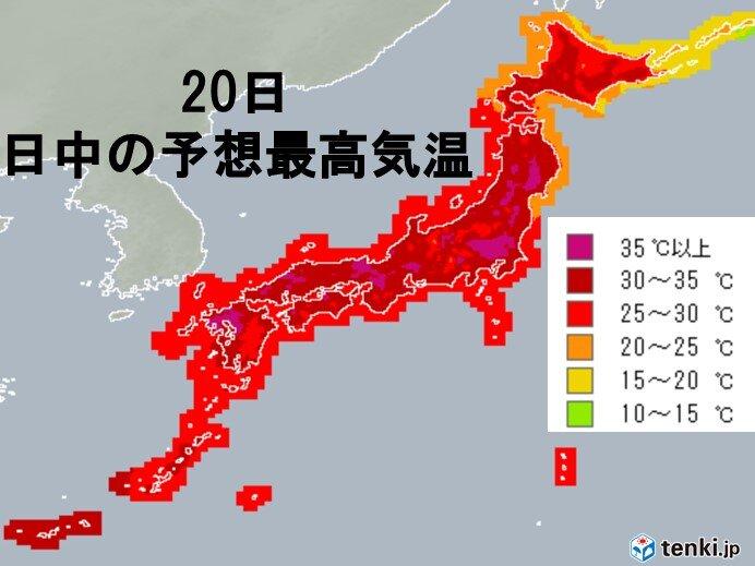 予想最高気温 大阪や福岡など36℃
