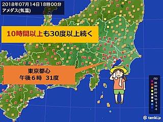 東京都心 10時間以上も30度超え