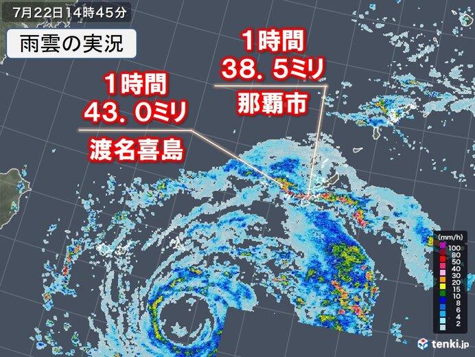 沖縄 台風6号の発達した雨雲がかかる 那覇市などで激しい雨を観測