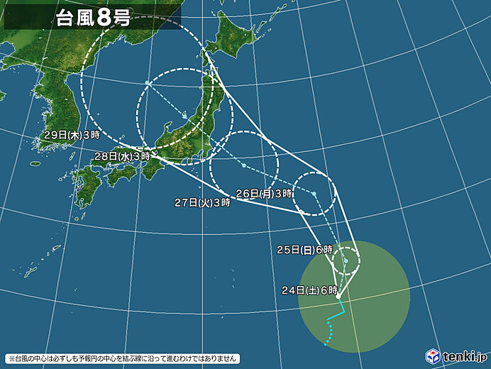 台風8号 次第に北上