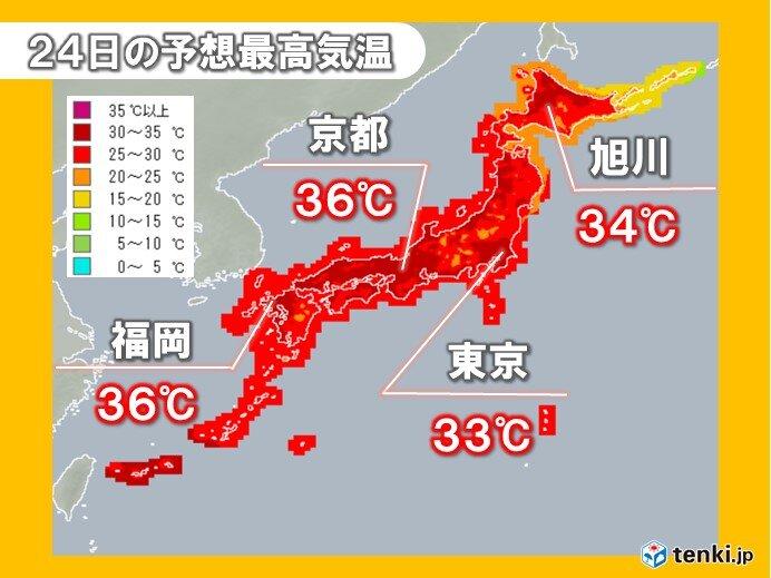 午前中から35℃超え 体温並みの暑さ続く 熱中症に厳重警戒