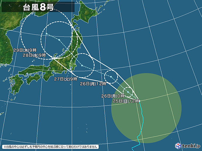 大型の台風8号 27日(火)頃に関東や東北に接近・上陸の恐れ