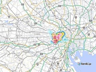 東京都心に発達した雨雲