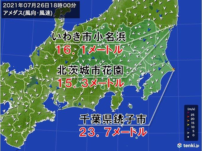 台風8号 千葉の一部が強風域に 最大瞬間風速 20メートル以上の風を観測