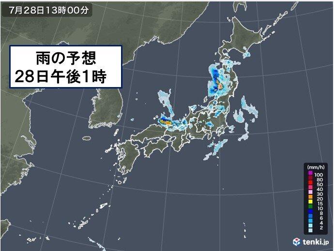 28日 台風8号 東北を横断 晴れる所も天気急変 北海道に熱中症警戒アラート