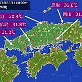 中国地方 今日(28日)は瀬戸内側で猛烈な暑さ。今週末から暑さがレベルアップ。