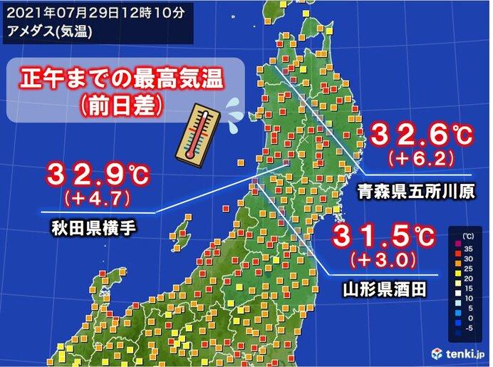 東北 厳しい暑さ復活 熱中症に警戒 急な雨や雷雨にも注意