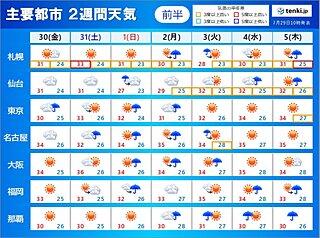 2週間天気 不安定な天気 雨や雷雨の日と熱中症警戒も続く