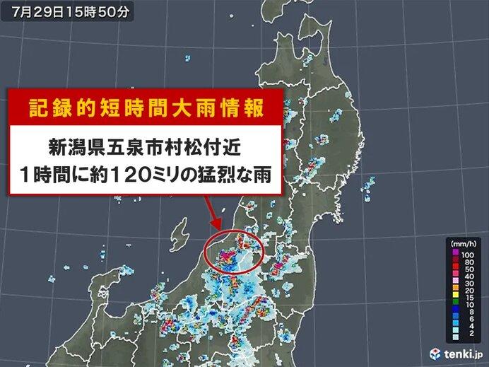 新潟県で約120ミリ「記録的短時間大雨情報」