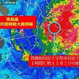 奈良県で約110ミリ 記録的短時間大雨