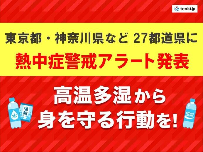 「熱中症警戒アラート」 東京都・神奈川県など27都道県に 今年最多