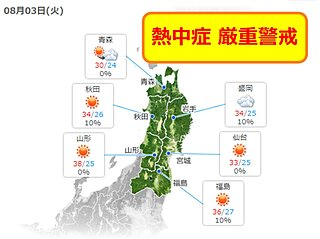 東北は広く熱中症警戒アラート 酷暑はお盆まで 帰省せずとも電話で呼びかけを