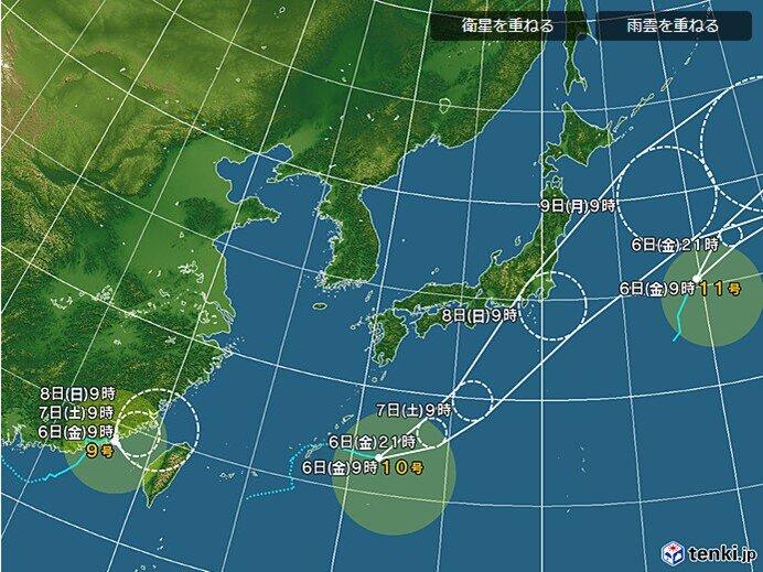 台風9号・10号 進路予想