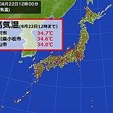 22日 午前中から日本海側で最高気温34℃台続出 午後は太平洋側でも熱中症対策を