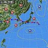 23日 本州付近にまた前線 局地的に滝のような雨 台風12号の影響続く