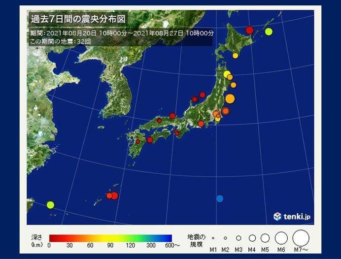 ここ1週間の地震回数 震度3以上が4回