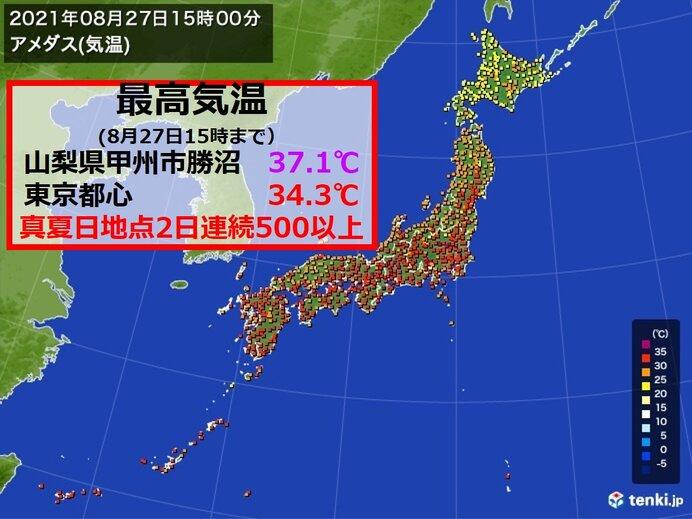 8月下旬なのに 最高気温 2日連続で37℃台も 真夏日地点は2日連続で500以上
