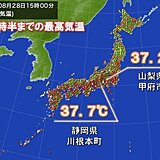 静岡県や山梨県で37℃台 名古屋や東京は35℃くらい 夜になっても熱中症対策を