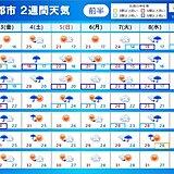 2週間天気 秋雨前線停滞 曇りや雨の日が多いが晴れる日も