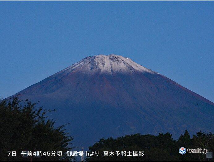 富士山で初冠雪