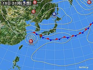 15日 台風14号と秋雨前線停滞 九州や四国で急な強い雨や雷雨