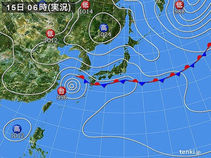 台風14号 あす16日(木)にかけて動き遅く 九州付近には秋雨前線が停滞