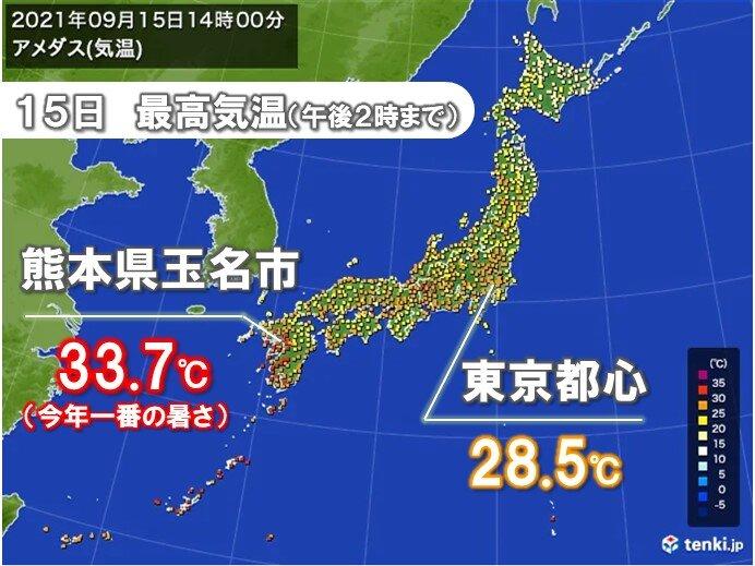 熊本県 最高気温34℃に迫る暑さ 今週末は全国的に30℃以上の真夏日続出