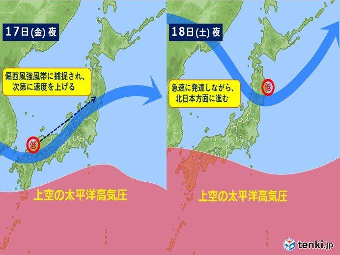 台風14号は次第に弱まるが 18日頃 新たに危険な低気圧として北陸に近づく!