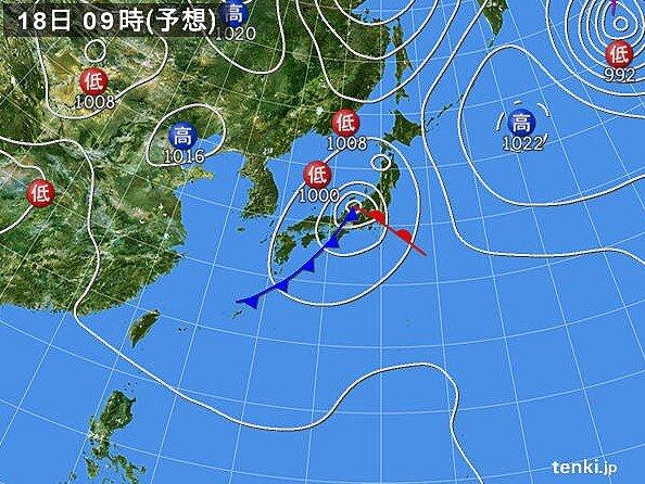 18日(土) 太平洋側中心に警報級の雨や風となる恐れも