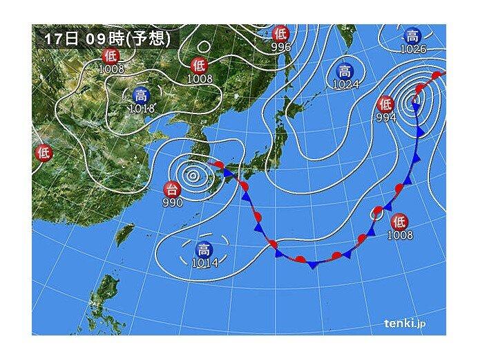 あす17日(金)の午後には雨が降り出す 海上では次第に風が強まる