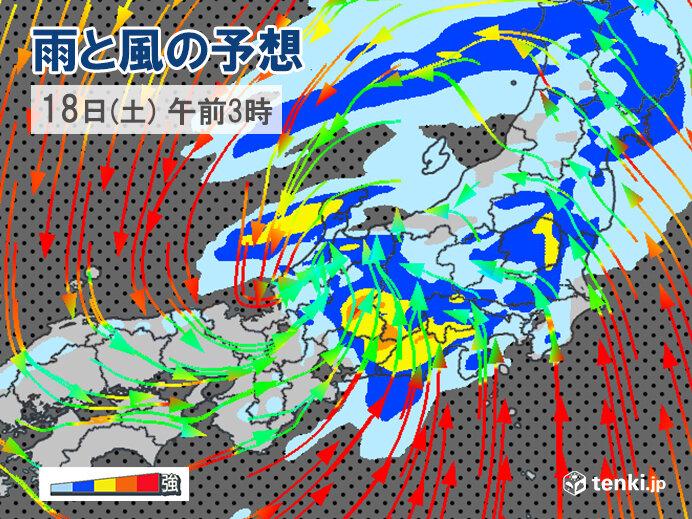 関東では18日(土)に大雨・強風のピーク