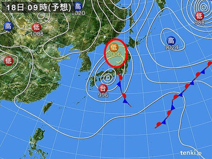 台風は遠くても…東北には別の低気圧が近づき大雨に