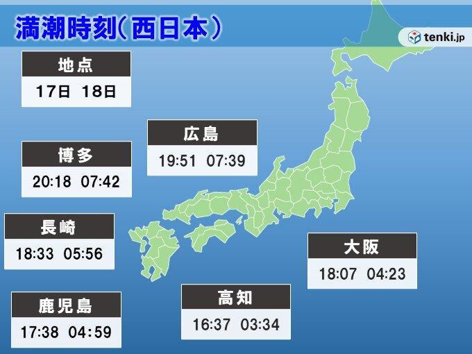 九州から近畿は今夜からあすの午前中に大潮に厳重警戒