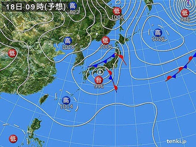 日本海に低気圧発生 東北と北海道も大雨による土砂災害に警戒
