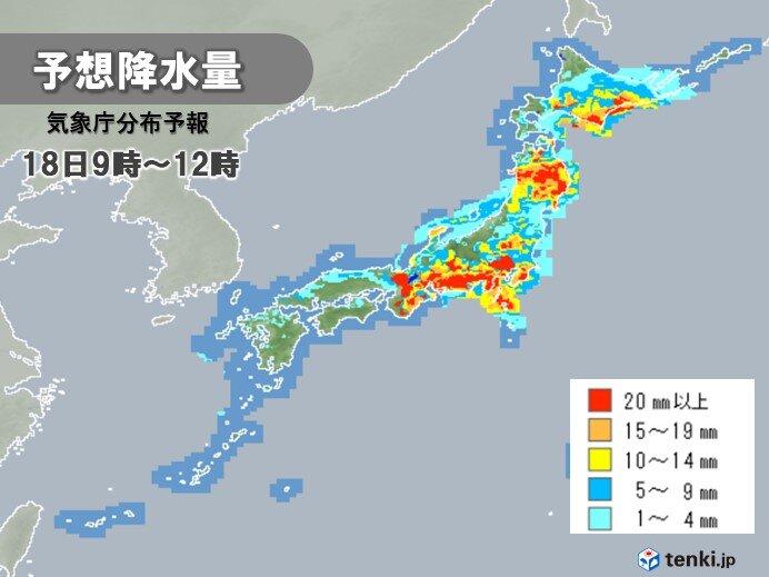 東海や関東甲信で大雨に 非常に激しい雨や激しい雨