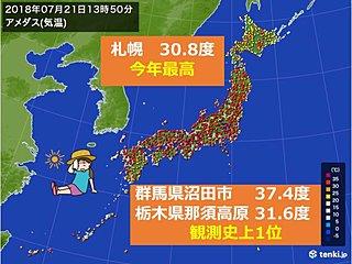 高原も厳暑 北海道では今年一番の暑さ続出