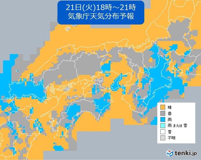 きょう21日(火) 南部を中心に雨 北部と中部では中秋の名月が楽しめる所も
