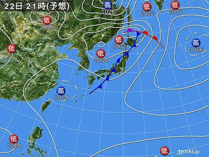 西日本から北日本を前線が通過