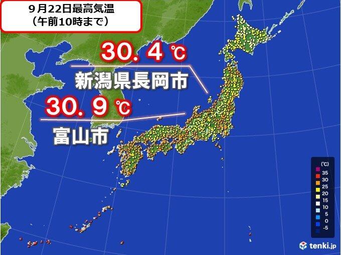 北陸は午前9時台から30度超えも