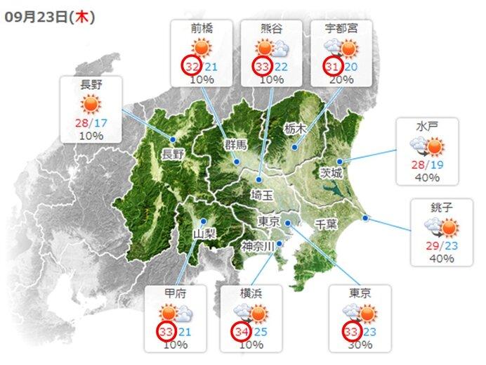 あす23日(木)秋分の日の天気