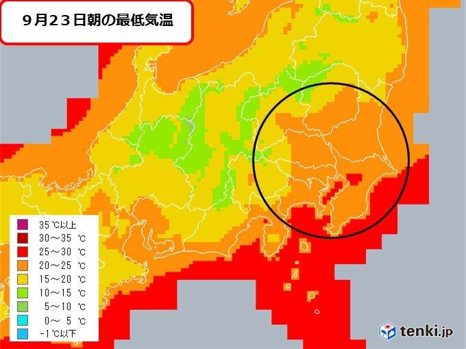 関東 今夜は熱帯夜の所も