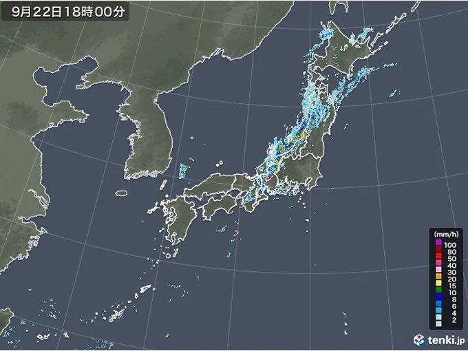 22日は寒冷前線通過で広く大気不安定