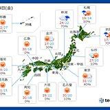 24日金曜の天気 広い範囲で晴天と残暑が続く 北海道は天気が回復するが秋の涼しさ