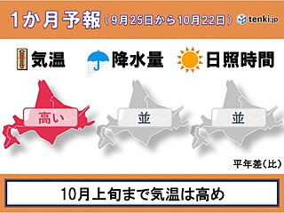 北海道の1か月予報 ゆっくりと秋が深まる