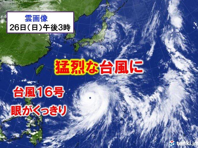 台風16号 きょう26日「猛烈な」勢力に 関東は1日(金)頃に大荒れか